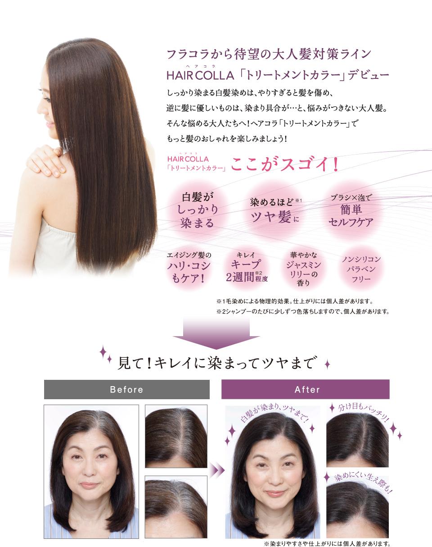 フラコラから待望の大人髪対策ライン HAIR COLLA「トリートメントカラー」デビュー