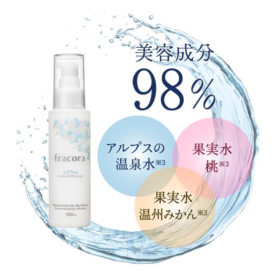 美容成分98% アルプスの温泉水※2 果実水 桃※2 果実水 温州みかん※2